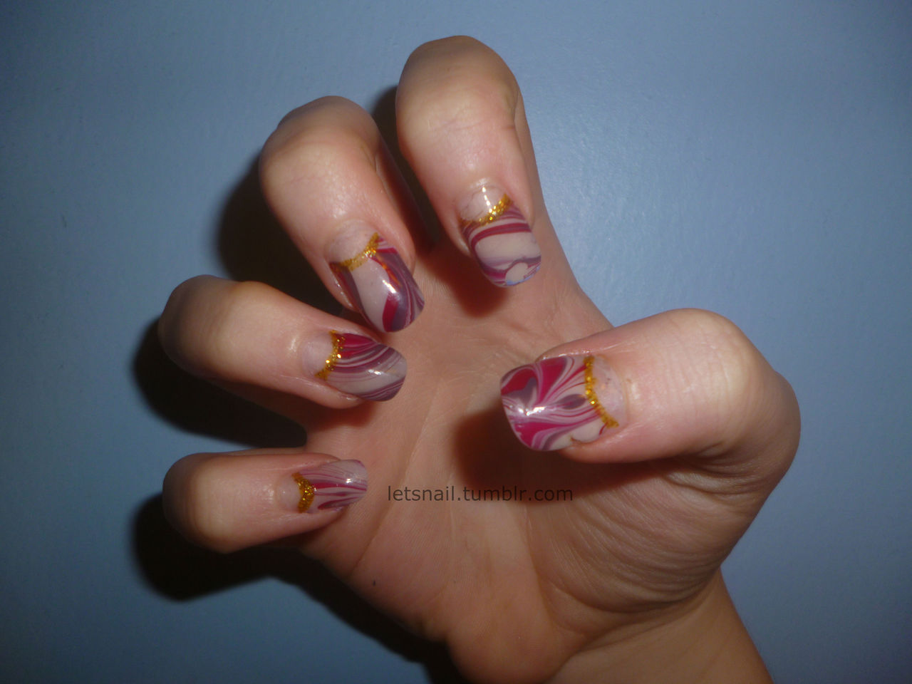 letsnail:  water marble half moon manicure i regret putting the gold on tbh