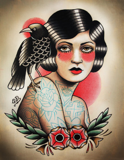 Le Raven Flash   Flapper and Raven - New print at Parlor Tattoo Prints