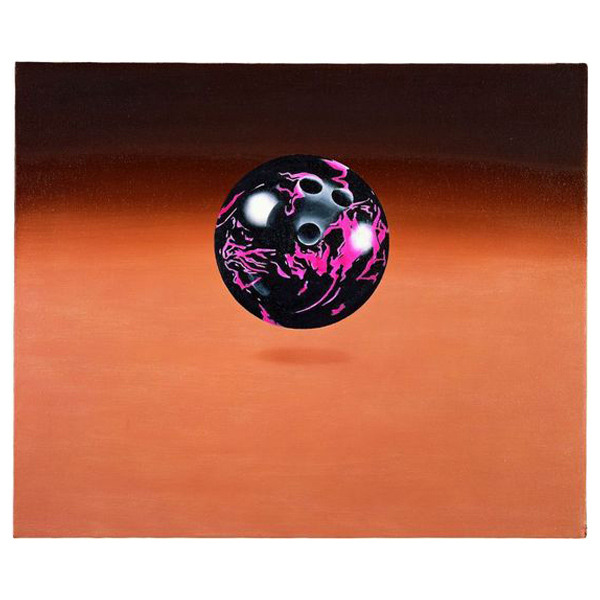 Black and Pink Ball,1972oil on canvas 20 H x 24 W (inches) (via Ed Ruscha | Catalogue Raisonné)