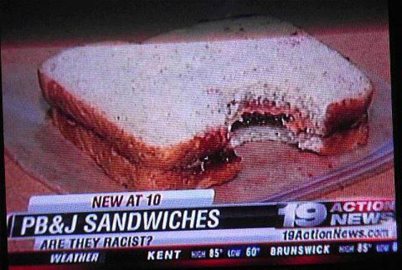 collegehumor:  News Reveals Racist Sandwich PB&J just aren't supposed to mix!