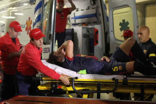 Puyol taken to hospital