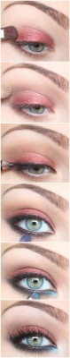 "drugstoreprincess:  Tutorials like this are more useful than you think!  You don't have to look at those specific colors and say ""wow, I wouldn't use blue eyeshadow"", because colors are interchangeable.  It is the technique and the placement of each color that is important.  You could use all neutral colors for this type of look, or all brights.  This is a tutorial that could create looks perfect for everything from school to clubbing, it all depends on what colors you choose!"