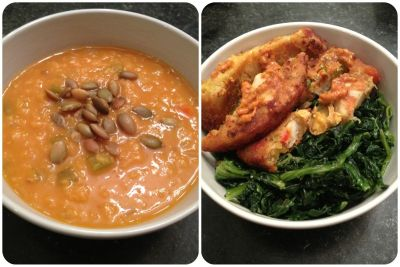 joy-of-health:  Dinner! Red lentil soup with roasted pumpkin seeds, sautéed spinach with garlic, and 1.5 veggie masala burgers with chipotle mustard.  Yum!