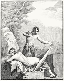 oldbookillustrations:  Satyr (Pan ?) and bacchante. Tommaso Piroli (engraver), from Antiquités d'Herculanum vol. 3, published by Francesco and Pietro Piranesi, Paris, 1804. (Source: archive.org)