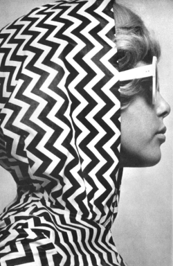 modcloth:  Pattie Boyd in a chevron top.