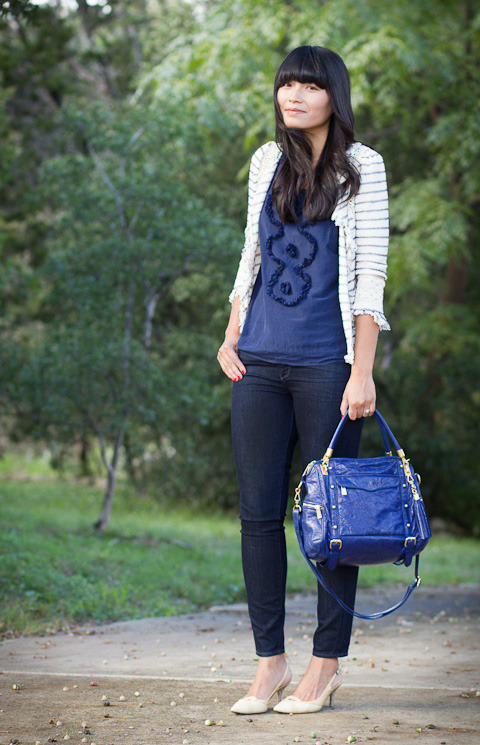 2012. blue eyes. striped crochet jacket by zara. ruffled tank by j.crew. verdugo jeans by paige. furla heels (thrifted). rebecca minkoff cupid satchel.on saturday, we went out to dinner, and i came home feeling sick. i slept most of the day on sunday, and by monday, i seemed a bit better. we've been dealing with a stomach bug at school, but fortunately for me, i'm just tired with a small appetite and restless mind. i'm not quite 100% myself, but i'm getting there.i hate admitting that i'm tired. i grew up with a workaholic dad who spent his days building furniture, taking extra jobs fixing carpentry work, and making things just for fun on the weekend. if anyone should be tired, he should be tired! so the good child in myself has always recognized that no matter how bad you feel or how terrible you think things are, there's someone else who keeps on keepin' on.so now instead of whining to M, i can think about my dad being awesome, and instead of a doodle, i can share a peek of my necklace. the look | similar jacket | similar blouse | similar jeans | similar heels