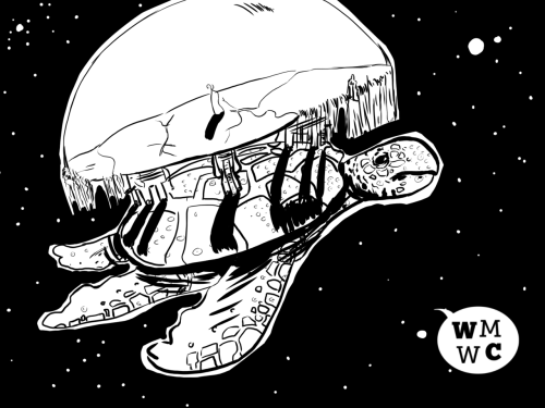 I'm in a discworld mood so, here's The Great A'tuin, doing what she/he (last I heard, the astrozoologists still had no idea of the gender of The Great A'tuin) does best; swimming in space.