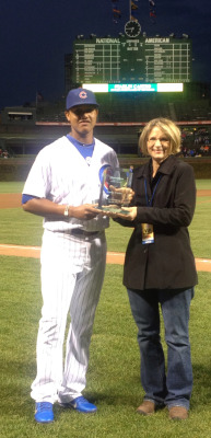 Starlin Castro received the Edward Jones Player of the Month award before tonight's Cubs game.