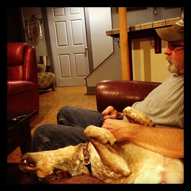 Husband & Dog #2 at rest. (Taken with Instagram)