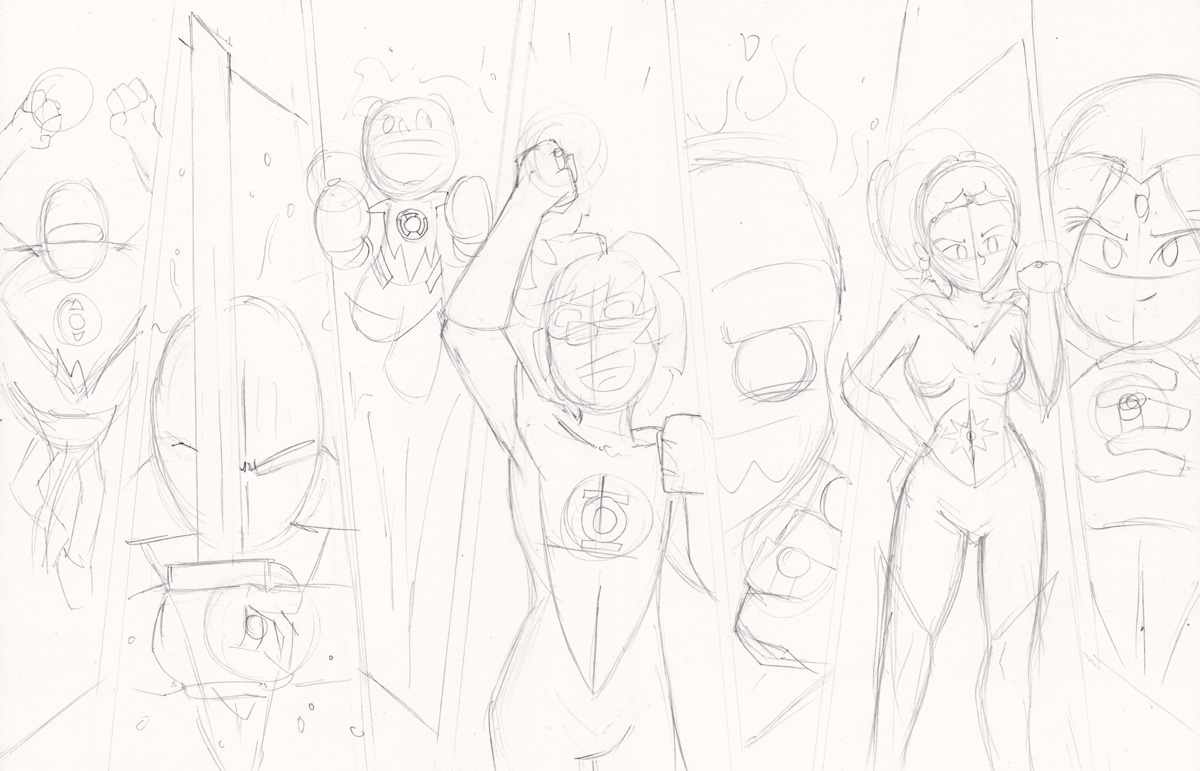 "Pencils for the ""Sam and Fuzzy"" Lanterns commission! Watch as we totally side-step whatever the heck that ridiculous-looking thing that Star Sapphire currently wears is supposed to be."