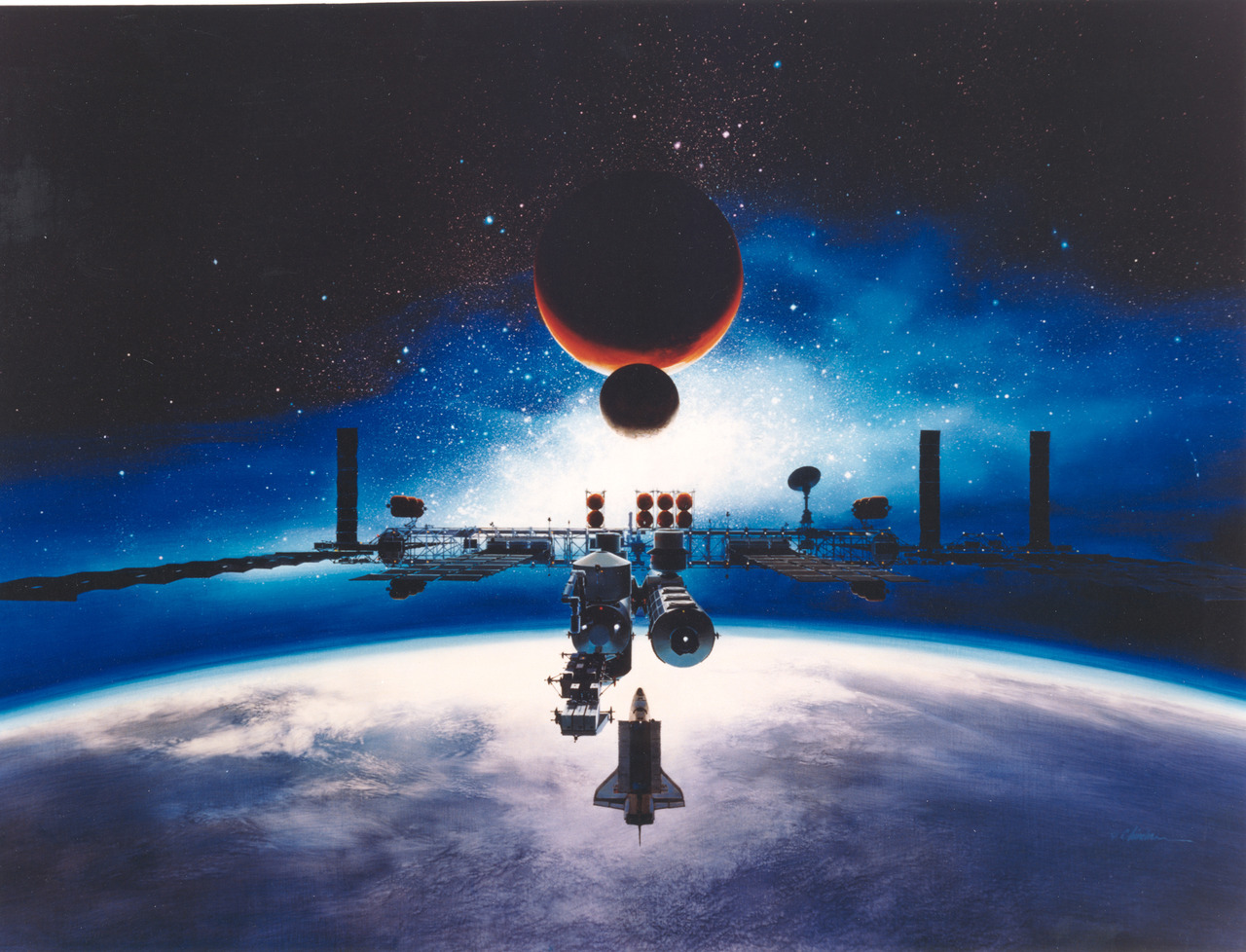Alan Chinchar's 1991 rendition of the Space Station Freedom in orbit.