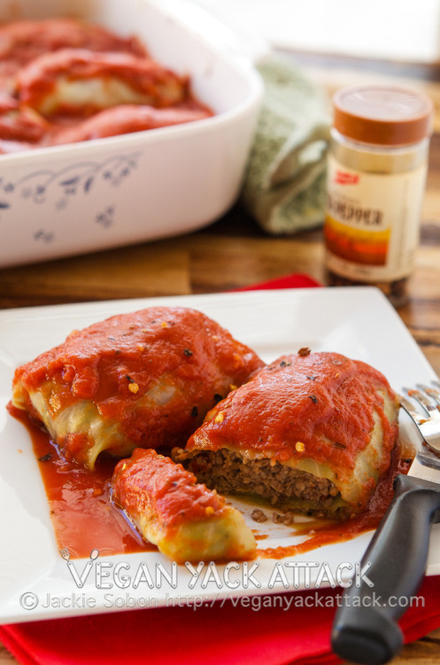 Golabkis (Stuffed Cabbage Rolls) I made this terrific recipe for a guest post on Vegan Miam! Find my introduction to the post and a little about Rika, here!