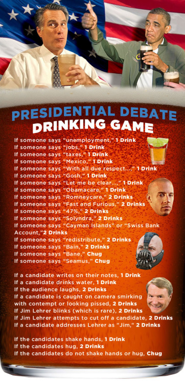 Presidential Debate Drinking Game. I lol'd at Bane's face!