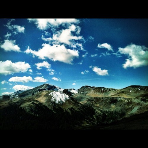 Top of the Rockies! #majestic #mountains #colorado #blue #sky #clouds  (Taken with Instagram)