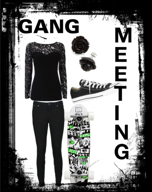 GANG MEETING! by kierseygirls featuring black jewelryWallis lace shirt / dVb Victoria Beckham super skinny jeans, $260 / Converse  / Black jewelry / Arbor Pocket Rocket Gt Skateboard