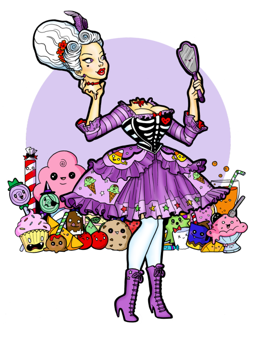 And my Kawaii Marie Antoinette finally has full color! Been chipping away at this little by little and it's finally done :D  If you like Miss Marie she is available as a print and she's available on t-shirts and stickers from Red Bubble :D http://www.redbubble.com/people/beccaw/works/9418192-kawaii-marie-antoinette