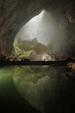 psychedelicately:   This recently discovered cave in Vietnam is massive beyond description. An entire forest is growing inside! There are no words to describe the enormity, and beauty of this natural wonder. The Empire State Building would fit inside!  forest in a cave, need this in my life.