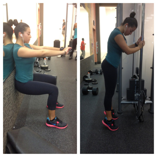 sweatingmyassoff:  kimnutrition:  Leg Continued… 90 degree: -3 sets with 30 second holds Calf Raises: -4 sets with 25 reps  Get it girl!