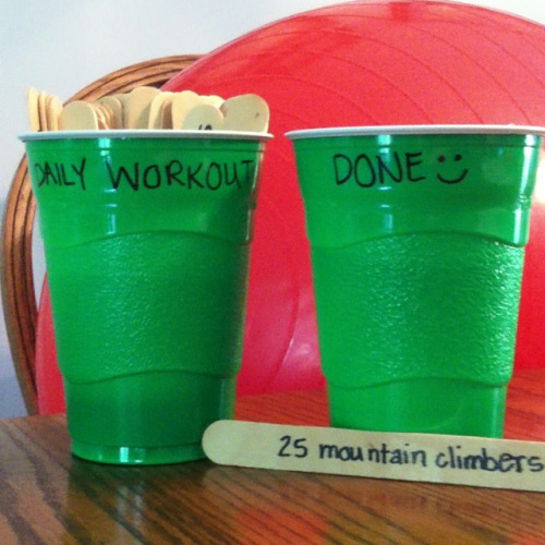 "g-ettingfit:  You do five a day, moving them to the done cup. At the end of the week you move them all back into the workout cup and start over, this helps you get a varied workout. - GREAT idea. So many different ways you could go about this also.  Doing this because I want to get in shape and I have the hardest time getting motivated. It reminds me a little bit of this date night jar thing I made for Jimmy a few months ago, where I wrote date ideas on little color coded (indoor, outdoor, fancy) popsicle sticks so we didn't have the ""What should we do?"" debate every weekend. I'm going to take the color code idea from that and do it for these too so I get a well balanced workout."