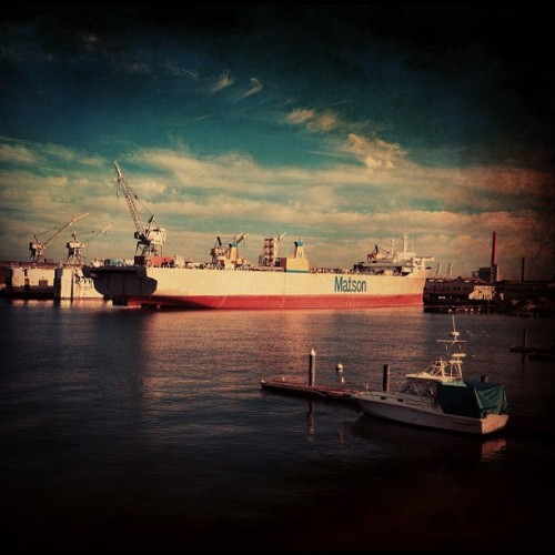 Container ship (Taken with Instagram at Mission Rock Cafe)