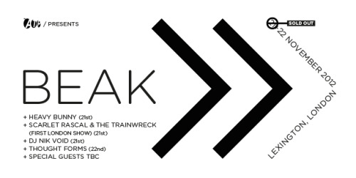 Beak> & ATP confirm second show at The Lexington in London on November 22nd»»»>