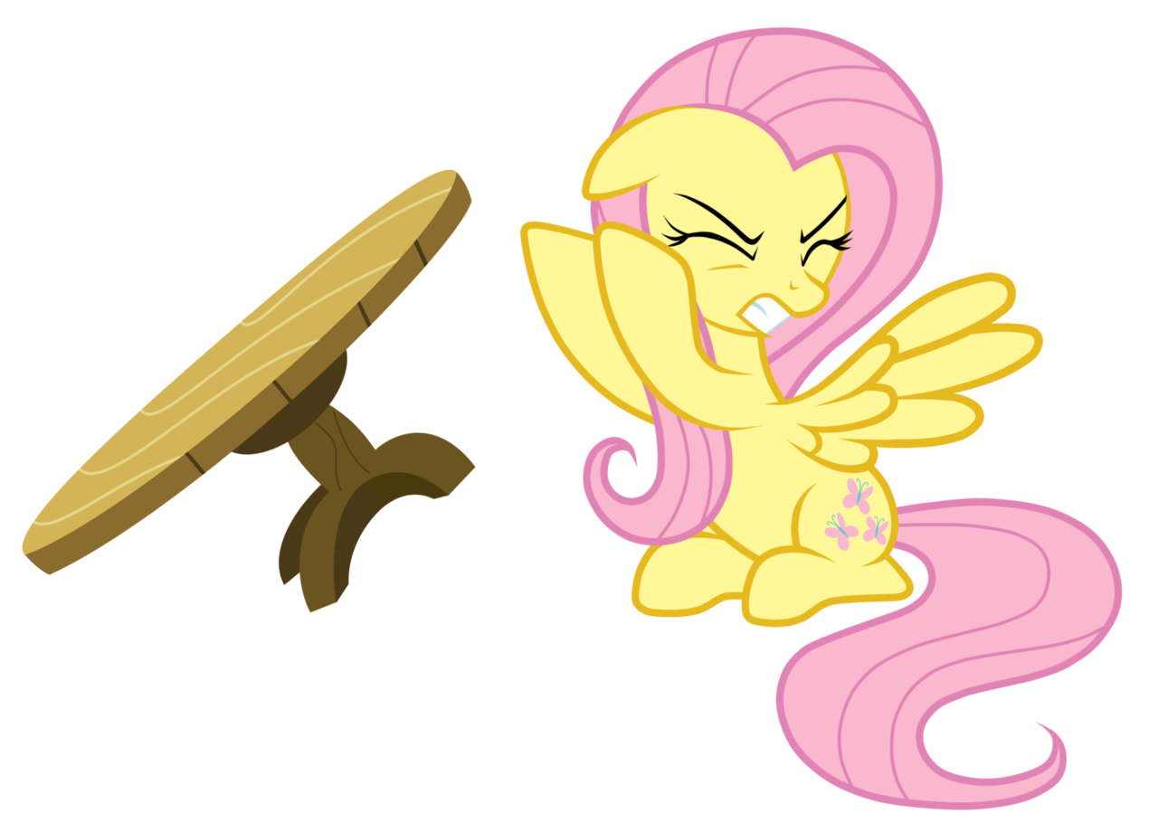 Fluttershy Table Flip by ~JunkiesNewb