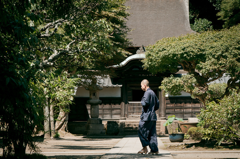 a monk in an old zen temple