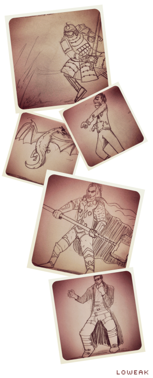 Some sketches (samurai, zombie, dragon, Thor, Neo) http://parallelgameworld.tumblr.com