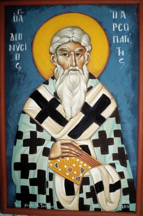 The holy, glorious and right-victorious Hieromartyr Dionysius the Areopagite was baptized by Saint Paul in Athens and is numbered among the Seventy Apostles. His feast day in the Holy Orthodox Church is celebrated on October 3 (New Calendar). Prior to his baptism, Dionysius grew up in a notable family in Athens, attended philosophical school at home and abroad, was married and had several children, and was a member of the highest court in Greece, the Areopagus. After his conversion to the True Faith, St. Paul made him Bishop of Athens. Eventually he left his wife and children for Christ and went with St. Paul in missionary travel. He travelled to Jerusalem specifically to see the Most Holy Theotokos and writes of his encounter in one of his books. He was also present at her Dormition.Seeing St. Paul martyred in Rome, St. Dionysius desired to be a martyr as well. He went to Gaul, along with his presbyter Rusticus and the deacon Eleutherius, to preach the Gospel to the barbarians. There his suffering was equalled only by his success in converting many pagans to Christianity.In the year 96, St. Dionysius was seized and tortured for Christ, along with Rusticus and Eleutherius, and all three were beheaded under the reign of the Emperor Domitian. St. Dionysius' head rolled a rather long way until it came to the feet of Catula, a Christian. She honorably buried it along with his body.  Icon by Aggeliki Tseliou ©