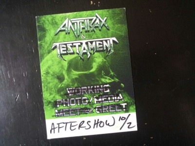 Some thoughts on last night's Anthrax / Testament show: Testament are really, really good. I feel like I may have seen them before and don't remember, but I will remember this. Lamb of God owe Testament some royalties. That riff from 'Into The Pit' sounds a lot like the riff on 'Laid To Rest'. Scott Ian is aging like a fine wine. Anthrax played 'Deathrider', one of my favorite Belladonna-era songs, and no one cared. They dedicated it to the guy who got shot at Metropolis, tho', which was nice. I guess not having Belladonna try to sing anything off We've Come for You All was a blessing in disguise. Nonetheless, I was sad to hear nothing from that album. I guess I'll have to wait another five years for that reunion? Twenty year old boys need to keep growin' that hair down to their waist and wearing them denim vests and shitty leather jackets because they make my eyes happy. I've seen Anthrax many, many times, and I have only this to say… The John Bush years? Those were golden… I got one of these. I didn't use it though. EDIT: I'm being told that 'Deathrider' is pre-Belladonna. That explains a lot.