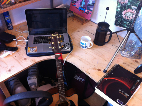 Coffee, instruments and Logic Pro. Let the (hopefully) productive afternoon commence.