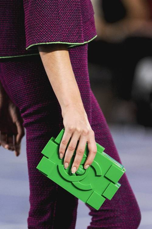 Zoom Shot: Chanel's Lego Block Clutch. A green building block for your closet? Details.