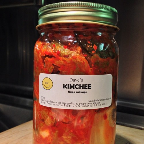 veganfeast:  quarrygirl:  just tried this fantastic kimchee from dave's korean food, an entirely vegan company that sells goods at local farmers markets. from their kimchee to their spicy tofu and several varieties of tempeh, everything rocks. plus they don't skimp on the free samples. track them down at the markets in west hollywood (sunset strip - that's where i got it!), studio city, burbank, south pasadena, culver city and more…?  yum  KIMCHEE!