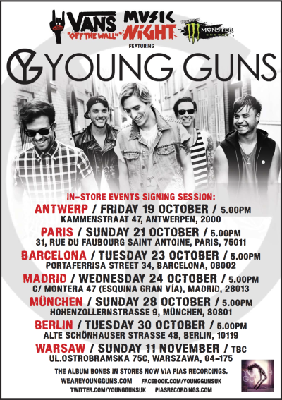 …and Europe, we've not forgotten about you. We'll be doing signings at the following Vans Stores along the way too!