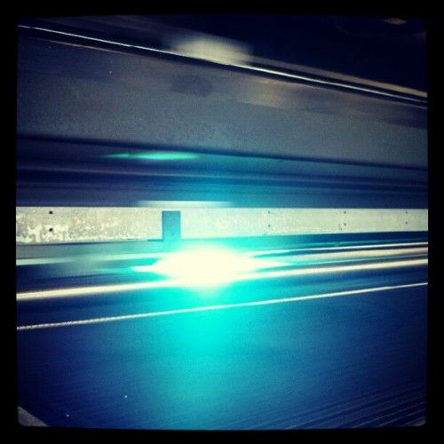 Spaceship? Nope. Just our UV printer at @tkographix — see the printer in action here: http://youtu.be/4xmRIZI7Rho (Taken with Instagram)