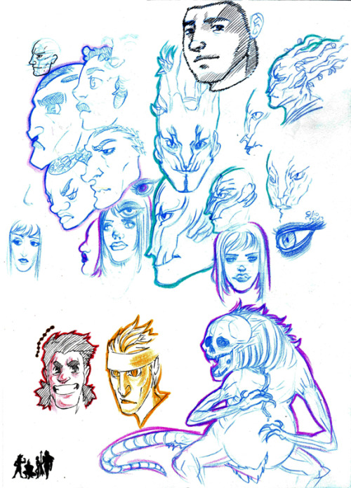 More sketchbooking~A bit of randomness, some of my GW2 chars (Nuyt and Thilli) and some epic loads!My fave is one of Thilli's skull minions on the lower right ~♫