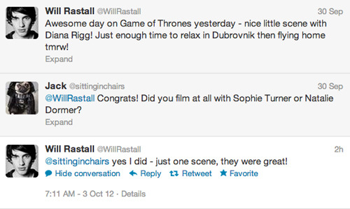 sansa-snark:  fyeahsophieturner:  According to this exchange, it looks like a famous and much anticipated scene involving Sansa, Margaery, and the Queen of Thorns was filmed recently.