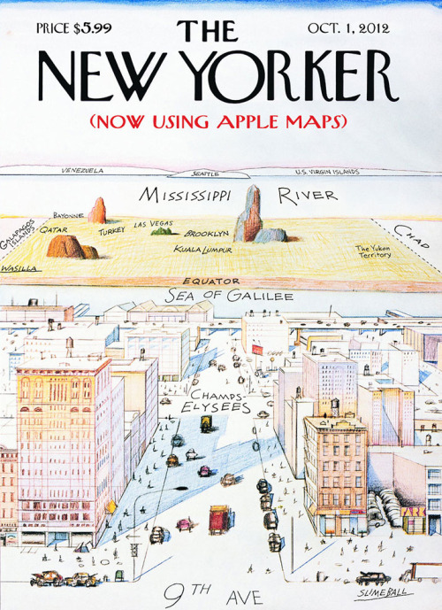 thingsmagazine:  The New Yorker (Now Using Apple Maps) (via magCulture)  Oh snap.
