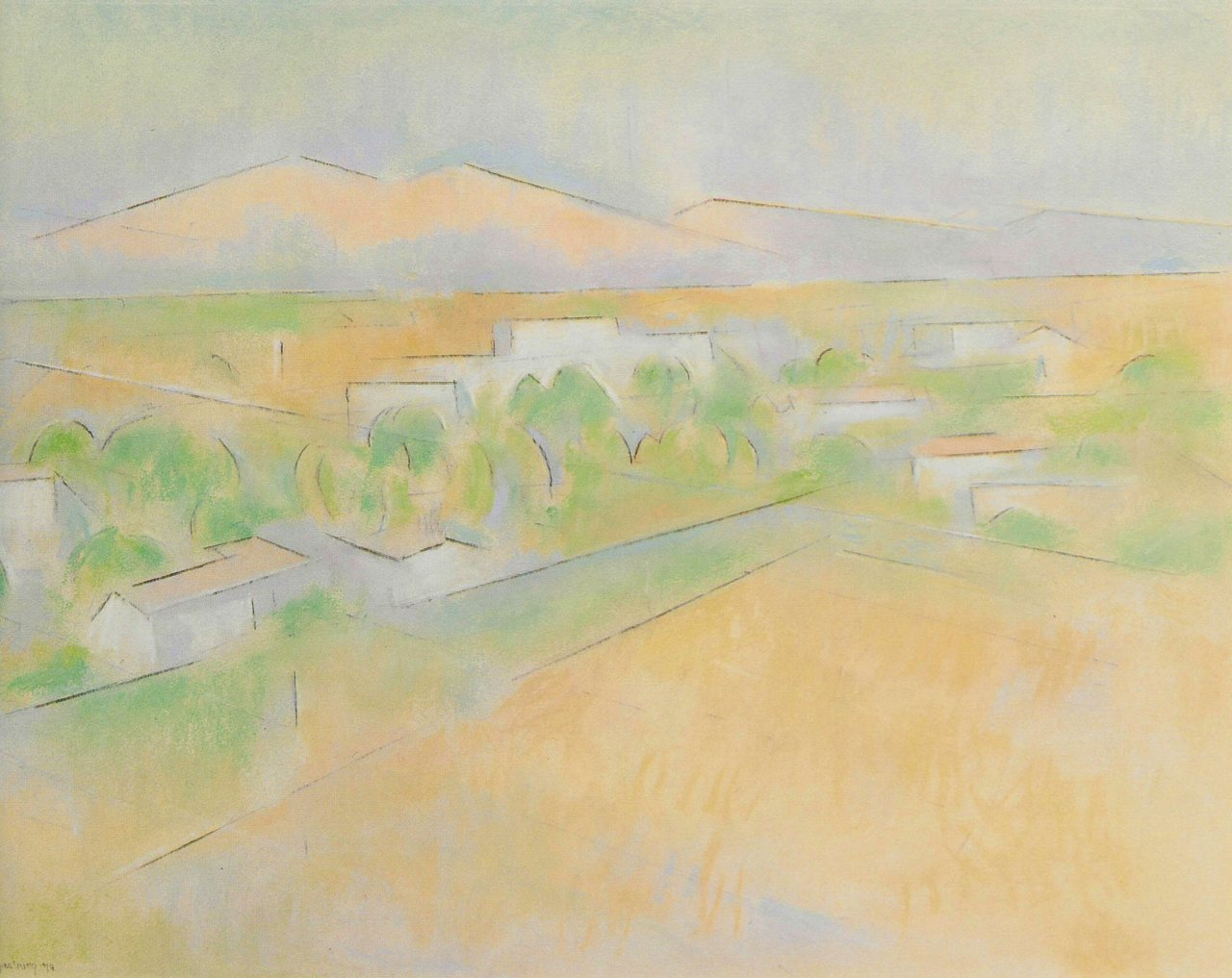 "Andrew Dasburg (1887-1979)  ""Spring in Ranchos"", 17"" x 24"",  Pastel on paper   Dasburg was one of the leading Modernists in New Mexico for sixty years. A student of Robert Henri, an acquaintance of Matisse and a contributor to the famous 1913 Armory Show."