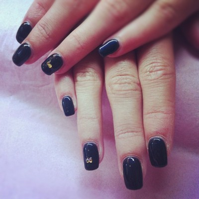 #calgel glitter navy with bow accent #digitsbeauty (Taken with Instagram)