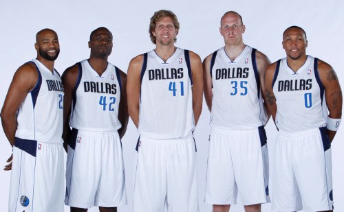 nba:  Vince Carter, Elton Brand, Dirk Nowitzki, Chris Kaman and Shawn Marion of the Dallas Mavericks pose during the Dallas Mavericks Media Day on September 28, 2012 at the American Airlines Center in Dallas, Texas. (Photo by Glenn James/NBAE via Getty Images)