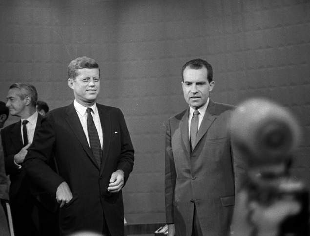 gq:  Your Morning Shot: John F. Kennedy and Richard Nixon From the first-ever televised presidential debate, September 26, 1960.