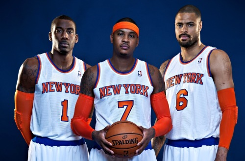 nba:  Amar'e Stoudemire, Carmelo Anthony and Tyson Chandler of the New York Knicks pose during Media Day on October 1, 2012 at the Knicks Training Facility in Greeburgh, New York. (Photo by Jennifer Pottheiser/NBAE via Getty Images)