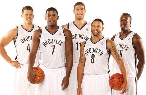 nba:  Kris Humphries, Joe Johnson, Brook Lopez, Deron Williams and Gerald Wallace of the Brooklyn Nets pose during Media Day on October 1, 2012 at Barclay's Center in Brooklyn, New York. (Photo by Nathaniel S. Butler/NBAE via Getty Images)