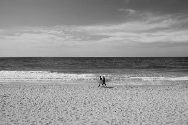 Two Surfers on Flickr.Two surfers walk along  Manly Beach.