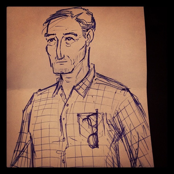 Lunchtime sketch. A handsome older dude. #sketch #foleypdx #art #olddude (Taken with Instagram)