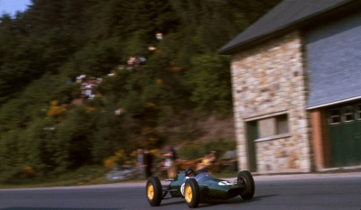 what we miss … trackside housesJim Clark, Lotus-Climax 25, 1962 Belgian Grand Prix, Francorchamps