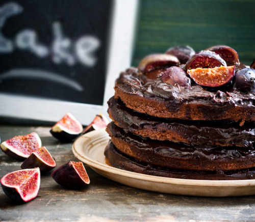 Chocolate Cake with Caramelized Figs - Recipe here