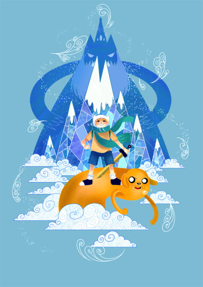 brogancoral:  Some Adventure Time fanart  Woah, such a smart composition with the beard & mountain!