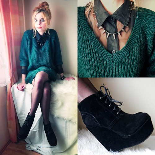 BOTTLE GREEN OVERSIZE SWEATER (by Nesairah Nesstyle)